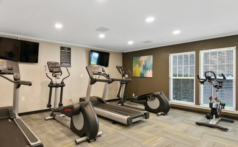 recessed lighting throughout fitness center